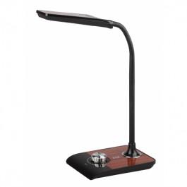 Настольный светильник черный с деревом ЭРА NLED-473-10W-BK