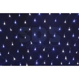 Гирлянда - сеть светодиодная 2 х 0.7м, свечение с динамикой, черный провод, бело/синие диоды