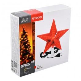 """Верхушка на елку """"Звезда"""" красная, 30 LED ламп"""