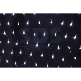 Гирлянда - сеть светодиодная 2 х 0.7м, свечение с динамикой, черный провод, белые диоды